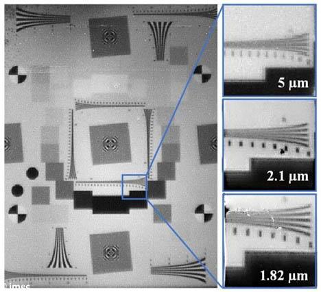 Imec展示了3种不同像素间距的SWIR图像,可以采用最小的像素间距(1.82µm)捕获最高分辨率的图像。