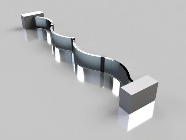 扬声器的膜片由静电力驱动,膜片由三个不同电荷的电极紧密排列而成