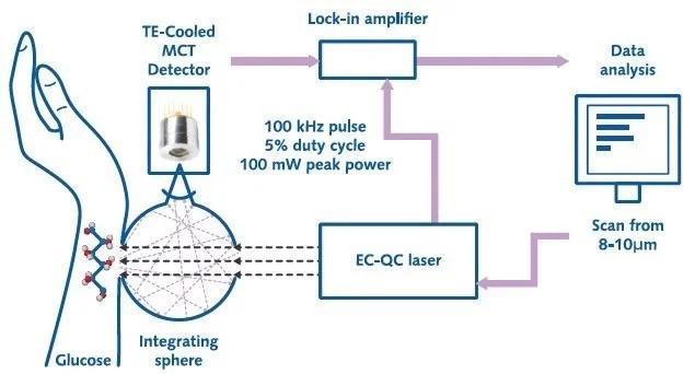 利用QCL光谱进行中红外无创血糖皮肤测量的原理