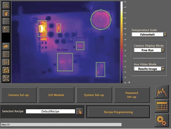 图为通电电路的热图像。只有当辐射率(发射率)发生变化时,或当较温暖区域与周围区域热隔离时,热图像才会显得比较清晰。