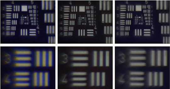 新透镜的测试结果展示:参考镜头(左图)出现由于色差造成的彩色接缝。3D打印的消色差透镜(中图)大幅消除了色差问题,而消色差透镜(右图)拍摄的图像则完全消除了颜色失真。