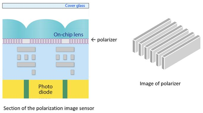 索尼偏振图像传感器的截面图