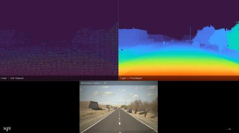 128线激光雷达与Light多目摄像头系统Clarity的深度图对比