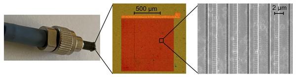 光纤尖端的纳米天线阵列,可用于太赫兹波长转换