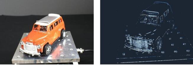成像样张:振动检测(左:传统基于帧的图像传感器,右:基于事件的视觉传感器)