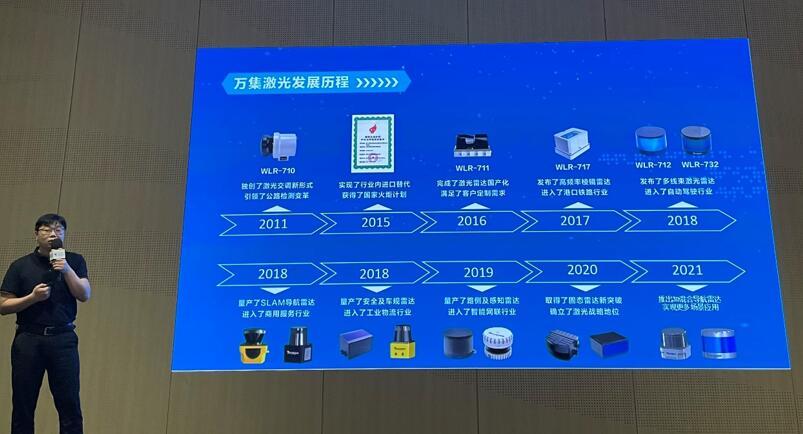 万集科技激光技术总工程师、武汉研究院院长胡攀攀先生介绍公司发展历程
