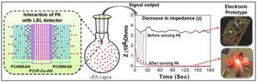 使用LBL检测器通过测量阻抗(Z)可视化检测诸如PA蒸气类化合物的电子原型示意图