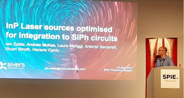 Iain Eddie博士在Photonex + Vacuum Technologies会议上展示Sivers的新技术